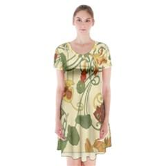 Floral Art Nouveau Short Sleeve V Neck Flare Dress