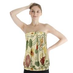 Floral Art Nouveau Strapless Top
