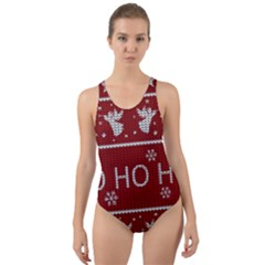 Ugly Christmas Sweater Cut Out Back One Piece Swimsuit