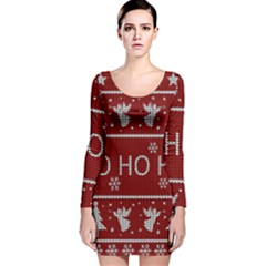 Ugly Christmas Sweater Long Sleeve Velvet Bodycon Dress