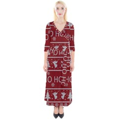 Ugly Christmas Sweater Quarter Sleeve Wrap Maxi Dress