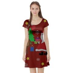 Ugly Christmas Sweater Short Sleeve Skater Dress