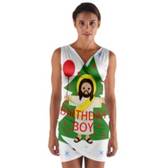 Jesus   Christmas Wrap Front Bodycon Dress