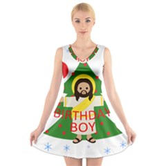 Jesus   Christmas V Neck Sleeveless Skater Dress