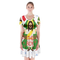 Jesus   Christmas Short Sleeve V Neck Flare Dress