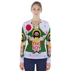 Jesus   Christmas V Neck Long Sleeve Top