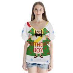 Jesus   Christmas V Neck Flutter Sleeve Top