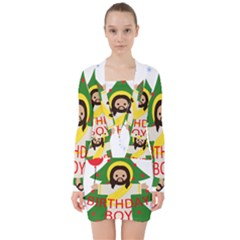 Jesus   Christmas V Neck Bodycon Long Sleeve Dress