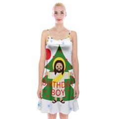 Jesus   Christmas Spaghetti Strap Velvet Dress