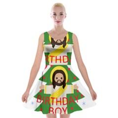 Jesus   Christmas Velvet Skater Dress