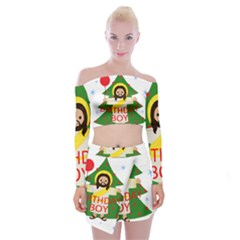 Jesus   Christmas Off Shoulder Top With Mini Skirt Set