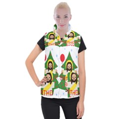 Jesus   Christmas Women s Button Up Puffer Vest