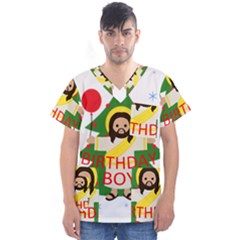 Jesus   Christmas Men s V Neck Scrub Top
