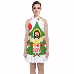 Jesus   Christmas Velvet Halter Neckline Dress