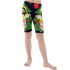Jesus   Christmas Kids  Mid Length Swim Shorts