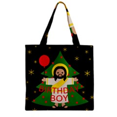 Jesus   Christmas Zipper Grocery Tote Bag