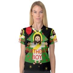 Jesus   Christmas V Neck Sport Mesh Tee