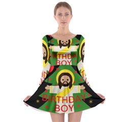 Jesus   Christmas Long Sleeve Skater Dress