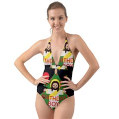Jesus   Christmas Halter Cut Out One Piece Swimsuit