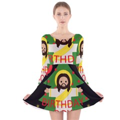 Jesus   Christmas Long Sleeve Velvet Skater Dress