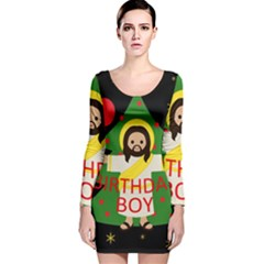 Jesus   Christmas Long Sleeve Velvet Bodycon Dress