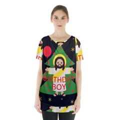 Jesus   Christmas Skirt Hem Sports Top