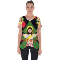 Jesus   Christmas Cut Out Side Drop Tee