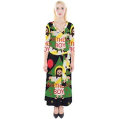 Jesus   Christmas Quarter Sleeve Wrap Maxi Dress