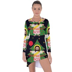 Jesus   Christmas Asymmetric Cut Out Shift Dress