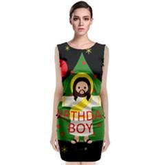 Jesus   Christmas Sleeveless Velvet Midi Dress
