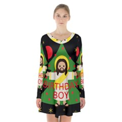Jesus   Christmas Long Sleeve Velvet V Neck Dress