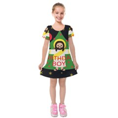 Jesus   Christmas Kids  Short Sleeve Velvet Dress