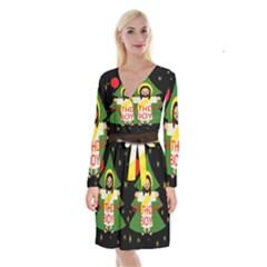 Jesus   Christmas Long Sleeve Velvet Front Wrap Dress