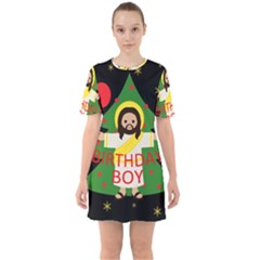 Jesus   Christmas Sixties Short Sleeve Mini Dress