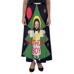 Jesus   Christmas Flared Maxi Skirt
