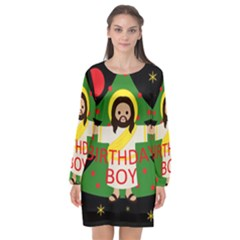 Jesus   Christmas Long Sleeve Chiffon Shift Dress