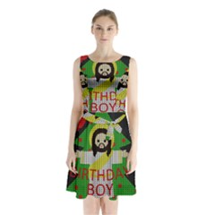 Jesus   Christmas Sleeveless Waist Tie Chiffon Dress