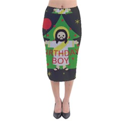 Jesus   Christmas Velvet Midi Pencil Skirt