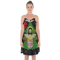 Jesus   Christmas Ruffle Detail Chiffon Dress