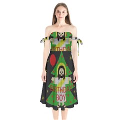 Jesus   Christmas Shoulder Tie Bardot Midi Dress