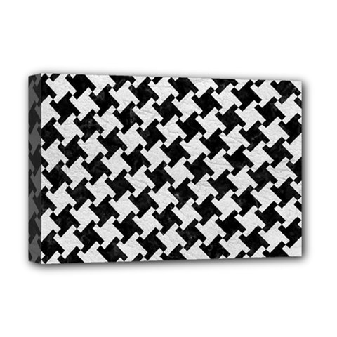 Houndstooth2 Black Marble & White Leather Deluxe Canvas 18  X 12