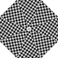 Houndstooth2 Black Marble & White Leather Golf Umbrellas