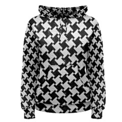 Houndstooth2 Black Marble & White Leather Women s Pullover Hoodie