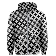 Houndstooth2 Black Marble & White Leather Men s Zipper Hoodie