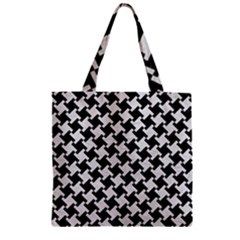 Houndstooth2 Black Marble & White Leather Zipper Grocery Tote Bag