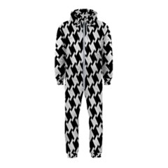 Houndstooth2 Black Marble & White Leather Hooded Jumpsuit (kids)