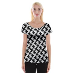 Houndstooth2 Black Marble & White Leather Cap Sleeve Tops