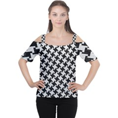 Houndstooth2 Black Marble & White Leather Cutout Shoulder Tee