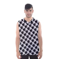 Houndstooth2 Black Marble & White Leather Men s Basketball Tank Top