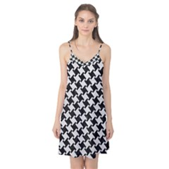 Houndstooth2 Black Marble & White Leather Camis Nightgown